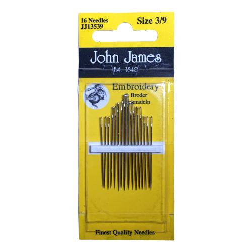 Broderinåler John James 3/9, 16 stk