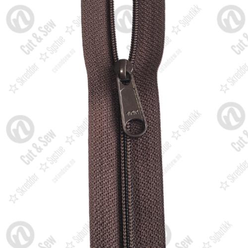 YKK Spiral Glidelås, Ikke Delbar, 570 Mørkebrun, 75 cm