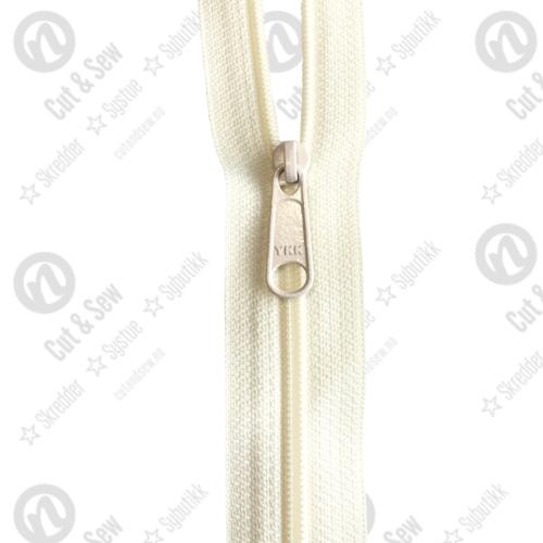 YKK Spiral Glidelås, Ikke Delbar, Offwhite 45 cm