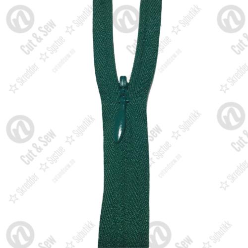 YKK Usynlig Glidelås 2cc, Ikke Delbar - 295 Eviggrønn
