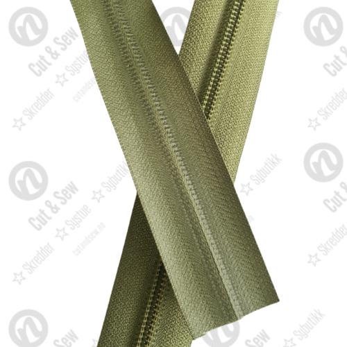 YKK Vanntett Spiral Glidelås, Ikke Delbar, Olivengrønn, 80 cm